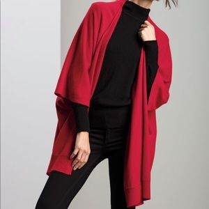 Neiman Marcus Cashmere Collection Red Wrap Poncho